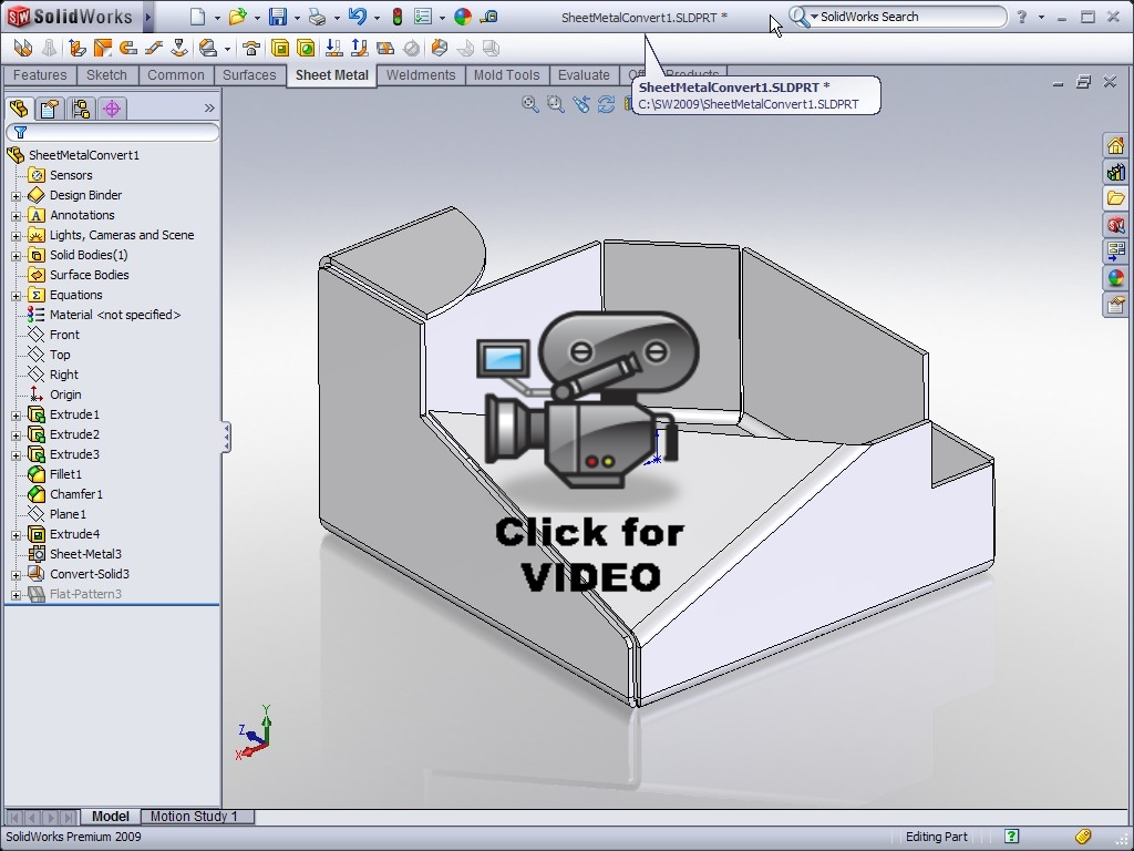 Solidworks Video Tip 2009 Convert To Sheet Metal Ricky