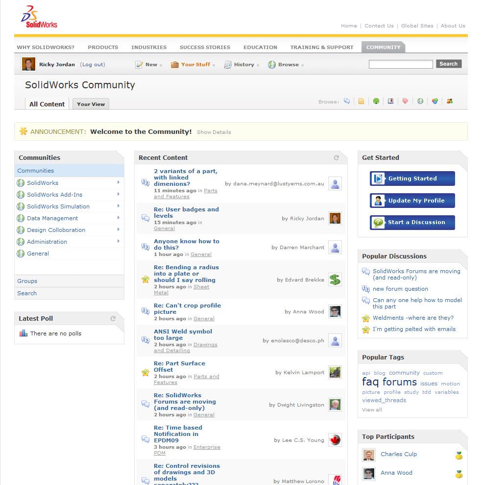 ALL NEW SolidWorks Community (Forum) | Ricky Jordan's Blog