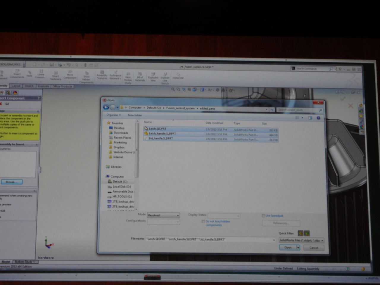 how to bring in inp to solidworks