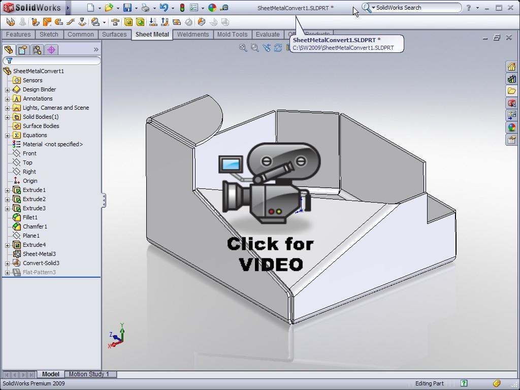 Solidworks Video Tip 2009 Convert To Sheet Metal Ricky Jordan S Blog